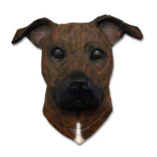 Am.Staffordshire Terrier Head Plaque Figurine Brindle Uncropped
