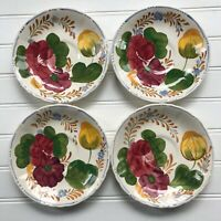 Lot of 4 Simpsons Belle Fiore Saucer Plates Handpainted England Chanticleer