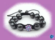 Bracelet Shamballa -Perle Shamballa et Strass Violet_ Perles Hématites 10 mm