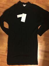 NWT LACOSTE Woman's Long Sleeve Polo Dress Tunic Top Black sz 34 2