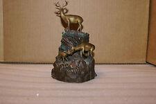 Vintage Dan Parker 1999 Bronze Statue Sculpture Urn Deer Family RARE