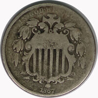 1867 5C Shield Nickel No Rays Raw Circulated US Coin