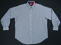 NWOT Vintage 90s Tommy Hilfiger Green Blue Check Gingham Crest Long Sleeve Shirt