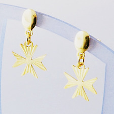 Hallmarked Genuine 18ct Gold Maltese Cross St John Amalfi Earrings Made n Malta