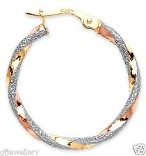 NEW DESIGN - 9CT HALLMARKED YELLOW WHITE & ROSE GOLD 24MM ROUND HOOP EARRINGS