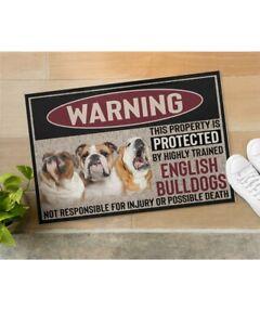 English Bulldog Welcome Doormat, Funny Dog Warning Doormat Indoor Housewarming