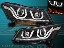 2008-2012 HONDA Accord SEDAN 4DR PROJECTOR LED U-BAR HALO HEADLIGHTS BLACK PAIR