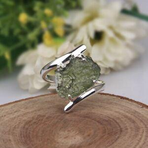 Raw Stone Czech MOLDAVITE Ring 925 Sterling Silver Bypass Engagement Ring