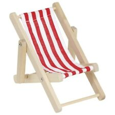 Holz-Puppenhaus-Zubehör Liegestuhl Puppenliegestuhl aus Holz und Stoff Neu OVP