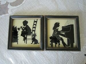 Vtg Pair Painted on Glass Silhouette Pictures-Boy & Girl-Piano & Bugle-Framed