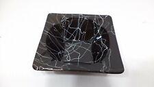 Vintage MID CENTURY MODERN Atomic Art Glass Retro Ashtray Black Spiral Rare