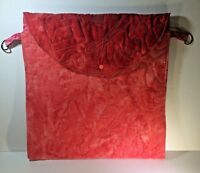 "Quilted & Vinyl Sewing Bag Tote Hand Made Red & Pink 16""x16"