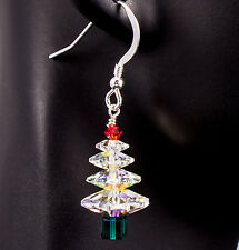 Crystal AB Christmas Tree Earrings Created with Swarovski Crystals Holiday Gift