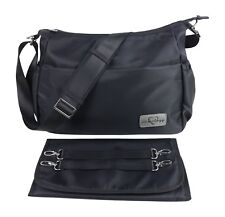 Purse Diaper Bag Black Nylon Changing Pad Insulated Crossbody Stroller Straps