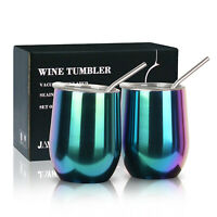 2x 12 oz Insulated Stainless Steel Wine Cups Double Wall  Wine Tumblers with Lid