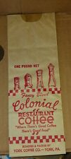 York, PA Vintage Colonial Restaurant Coffee Bag - York Coffee Co. 1940's-1950's