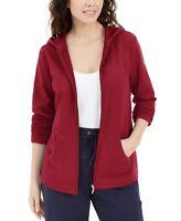 Karen Scott Sport Women's Zip Front Hoodie Size Small Color Red New