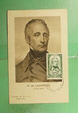 DR WHO 1948 FRANCE MUSEUM SLOGAN LAMARTINE MAXIMUM CARD ART PORTRAIT g19464