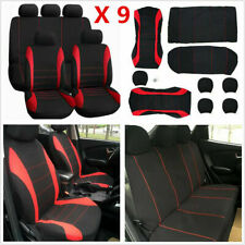 New listing Car Seat Covers 9p Set Full Styling Seat Cover Red+ Black For Universal 5-Seats(Fits: Golf)