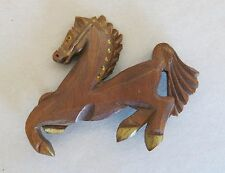 Curved Wood Horse Brooch 1940's [2157]