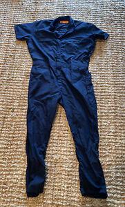 NEW Red Kap XL 32 Navy Blue Short Sleeve Jumpsuit Work Coveralls Overalls Zipper