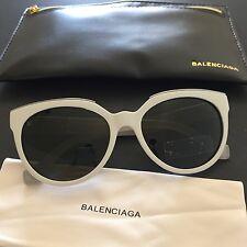Balenciaga Women's White Round Cat-eye Sunglasses BA0020 24N BA20 55mm Italy NWT