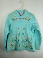 Quacker Factory Womens Blue Zipped Jacket SZL Emboidered Flowers Sequins A28