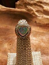 Antique Opal w/ CZ's Heart Shaped Ring 925 Sterling Silver Sz 5