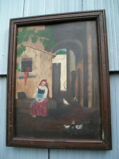 Unusual Antique Victorian Primitive R Varick Painting Aged~Wood Picture Frame