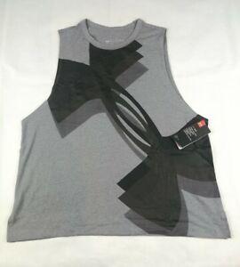 Under Armour Women UA Logo Heatgear Vest Workout Gym Grey XL Muscle Tank Top