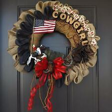 "25"" Wonderful Unique Handmade Black Burlap US Flag Wreath - Cowgirl GREAT GIFT"