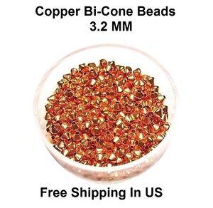 3.2 MM  Copper Bi-Cone Hollow Beads Hole 1.0 MM (Genuine Solid Copper)