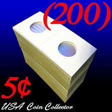 (200) Nickel Size 2x2 Mylar Cardboard Coin Flips for Storage | 5 Cent Holder