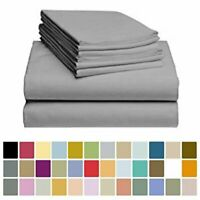 Egyptian Soft Bed Sheet Set Luxury Hotel Deep Pocket Sheets 1800 Count 6 Pcs MY