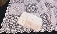 "Madeira Embroidery & Filet Lace Tablecloth 86"" - 12 Napkins Pale Pink  Army Navy"