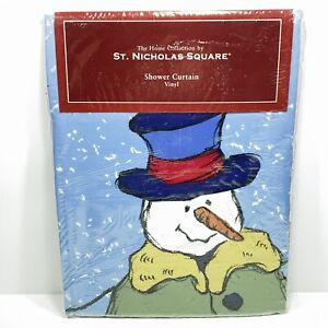 St Nicholas Square Snowman Family Shower Curtain Christmas
