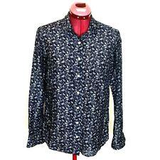 J Crew Boy Womens Top 2 Blue Silk Blend Blouse Bird Print Long Sleeve Button Up