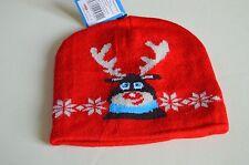 NUOVA linea donna uomo unisex Natale Raindeer Rosso Cappello Beanie Inverno Novità