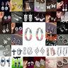Fashion 925 Silver Ear Stud Drop Dangle Ear Hoop Earrings Crystal Women Jewelry