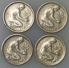 50 Pfennig 1949  D F G J Bank Deutscher Länder Kompletter Satz