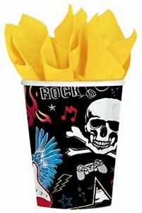 Party Rock Star Heavy Metal Music Kids Birthday Party 9 oz. Paper Cups