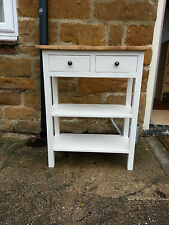 H90 W60 D30cm BESPOKE WHITE SATIN OAK WAX TOP CONSOLE HALL TABLE 2 DRAWERS
