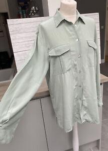 Vintage Laura Ashley Mint Green 100% Silk Blouse Shirt Top Size Uk 12