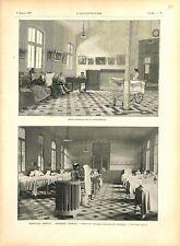 Paris Hôpital Broca annexe Pascal salle malade attente consultation GRAVURE 1897