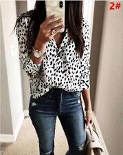 UK STOCK Women V Neck Ladies Leopard Print Long Sleeve Loose T Shirt Tops Blouse