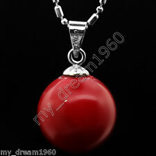 AAA Genuine 14MM Red South Sea Shell Pearl Pendant Necklace