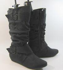 """ladies new Black 1.5""""hidden wedge heel round toe knee boot Size 10"""