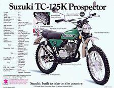 1973 SUZUKI TC-125K PROSPECTOR SALES SPECS AD/ BROCHURE