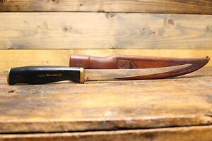 Vintage  Normark Fiskars 1967 82 Finland Fillet Knife W/ Sheath Pre-owned