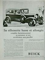 PUBLICITÉ DE PRESSE 1929 AUTOMOBILES BUICK SA SILHOUETTE BASSE ET ALLONGÉE